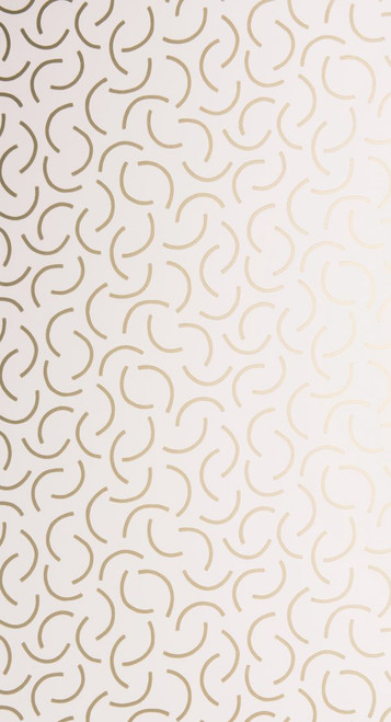 Curved metallic lines on white wallpaper.
