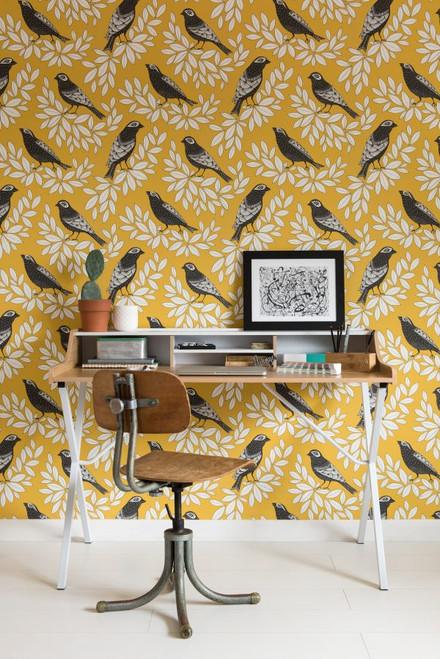 Yellow songbird wallpaper.