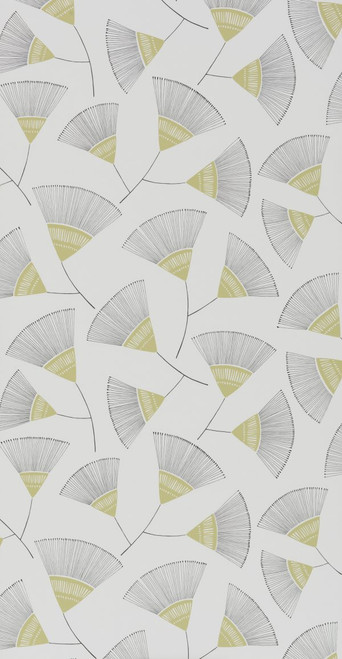 Graphic floral wallpaper in green.