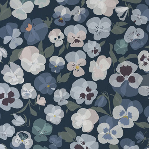 Subtle blue flowers with highlights of yellow and pink sit on a dark navy background.