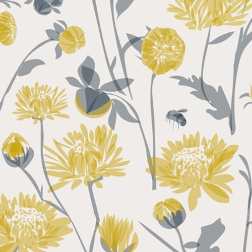 Floral chrysanthemum wallpaper with grey leaves and bees.