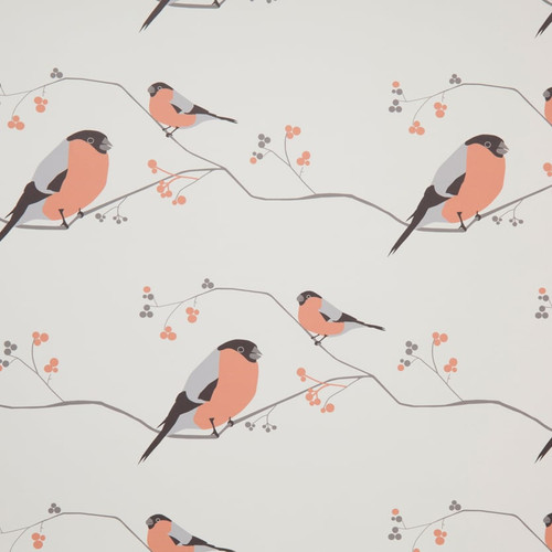 Modern pink and grey birds on tree branches with berries.