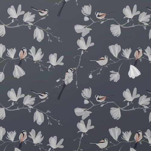 Pink birds in tree branches on a dark wallpaper.