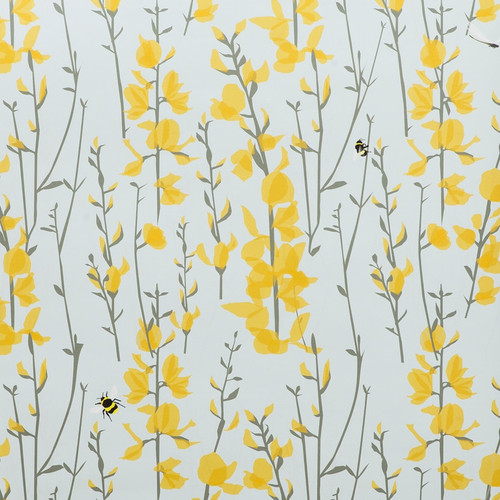 Yellow flowers on a blue wallpaper featuring bees.