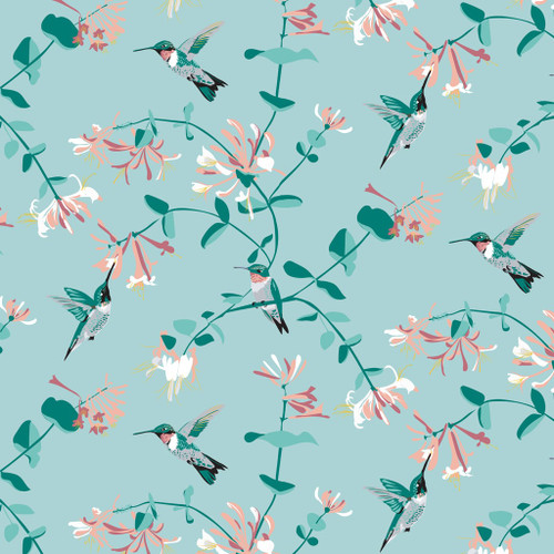 Hummingbirds and honeysuckle wallpaper in the mint color way.