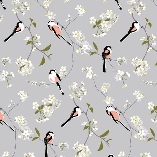 Birds and cherry blossom wallpaper on grey background.