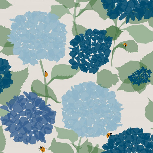 Blue hydrangea wallpaper with ladybugs on a white background.