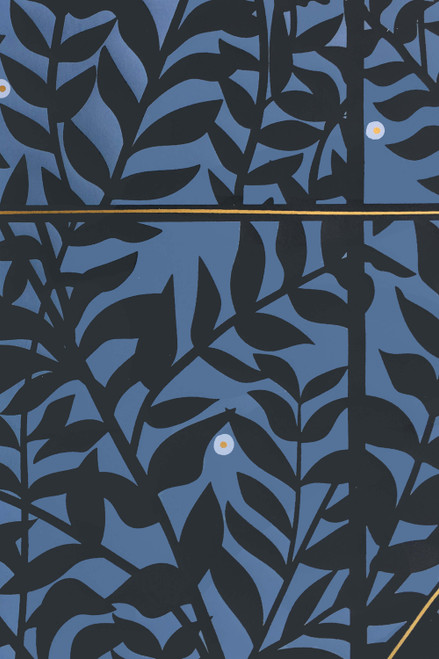 Night blue wallpaper with dark leaves with fireflies.
