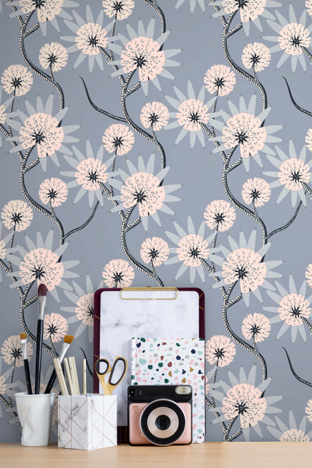 Gray wallpaper with white flowers and vines.