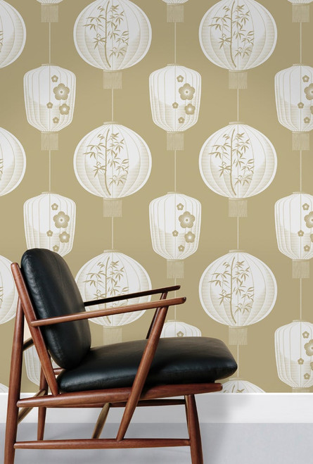 Lantern wallpaper in beige.