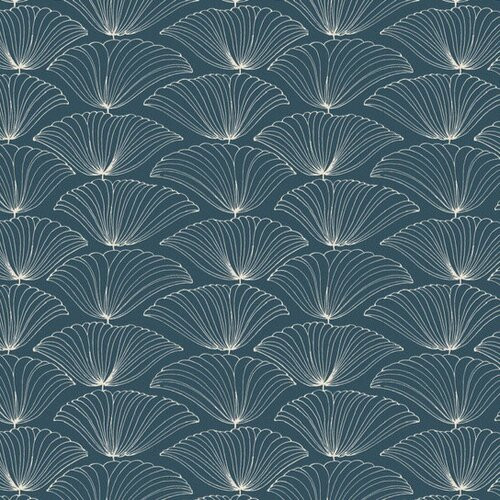 Outlined large floral blooms in a repeating pattern on navy wallpaper.