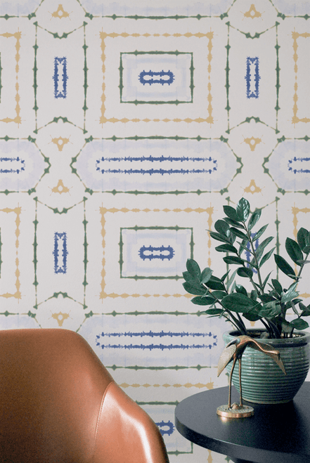 Geometric hand-dyed wallpaper.