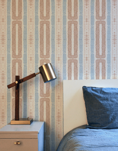 Hand-dyed wallpaper with coastal vibes.