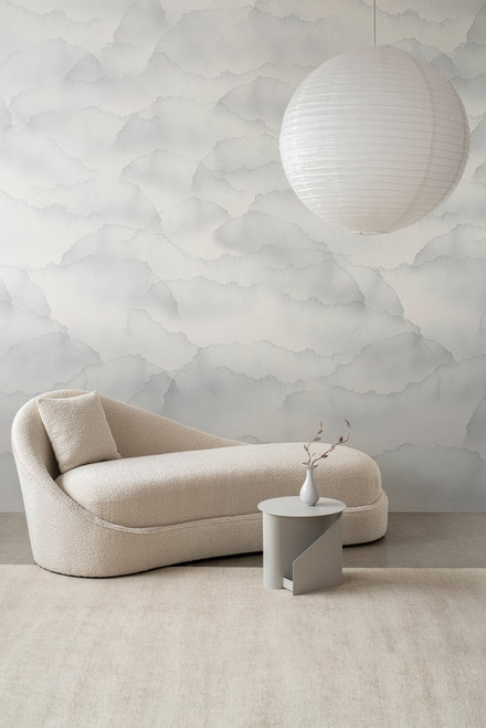 Gray cloud wallpaper on a pearlescent wallpaper.