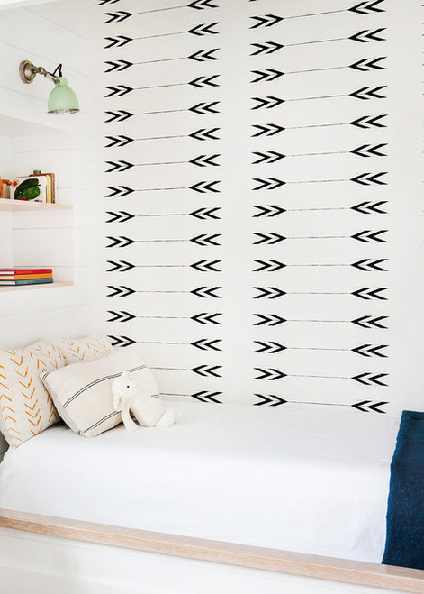 Accent wall of Tapestry wallpaper in a bed nook.