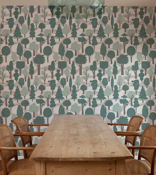 Forest of green trees on wallpaper.