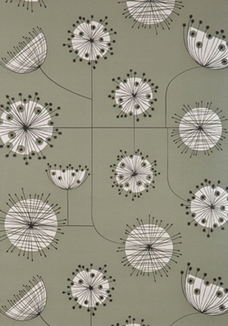 Grey and white modern floral wallpaper.