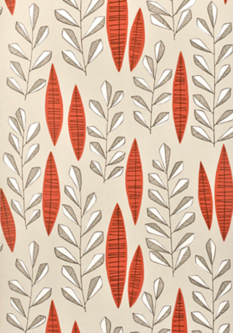 Red leaves a beige wallpaper.