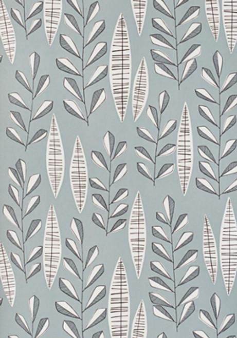 Neutral blue grey leaf wallpaper.