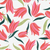 Bright, red and pink flowers on white wallpaper.