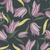 Large purple blooms on a modern charcoal wallpaper.
