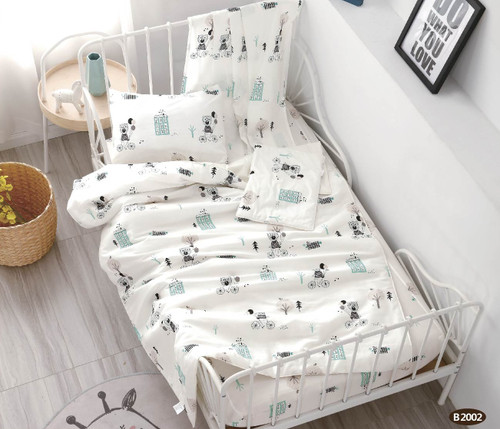 [40%OFF!!!] 100% Cotton Printed  Baby Cot Sheet Set B2002