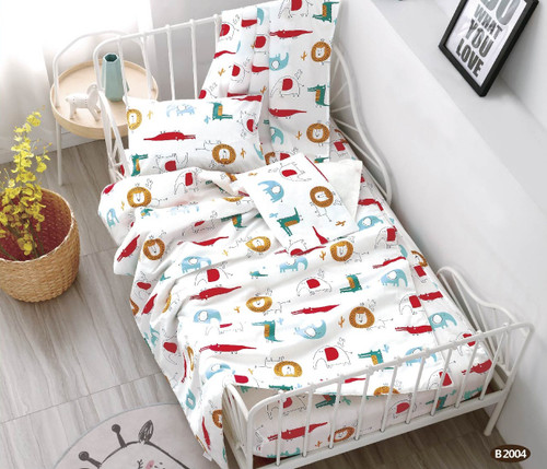 [40%OFF!!!] 100% Cotton Printed  Baby Cot Sheet Set B2004