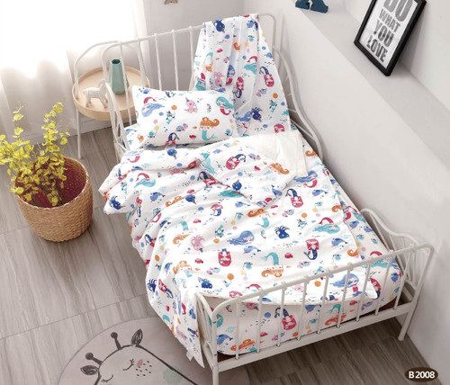 [40%OFF!!!] 100% Cotton Printed  Baby Cot Sheet Set B2008