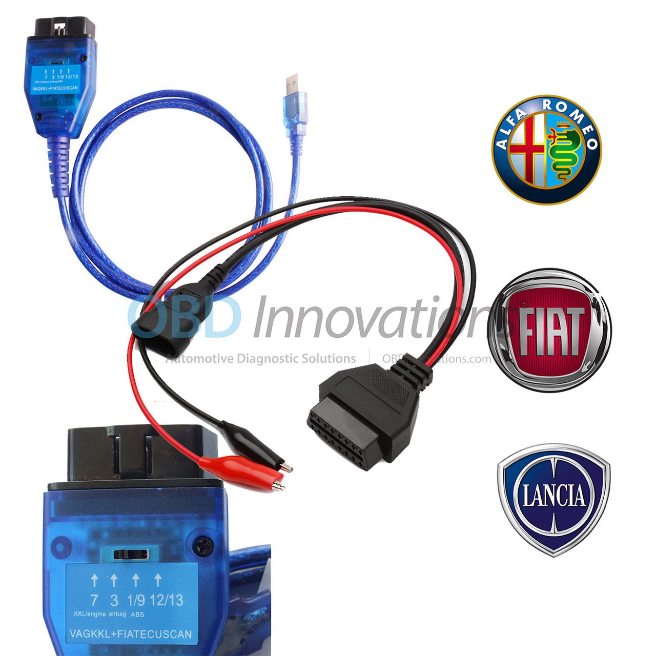Fiat 3 Pin OBD VAG 409 KKL USB+Fiat Ecu Scan Diagnostic Interface