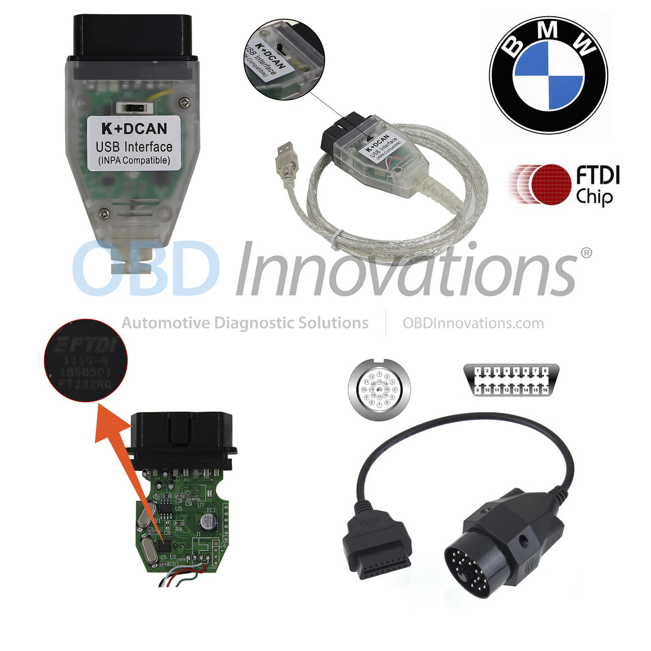BMW K + D-CAN FTDI Interface + Switch + 20 Pin Adapter