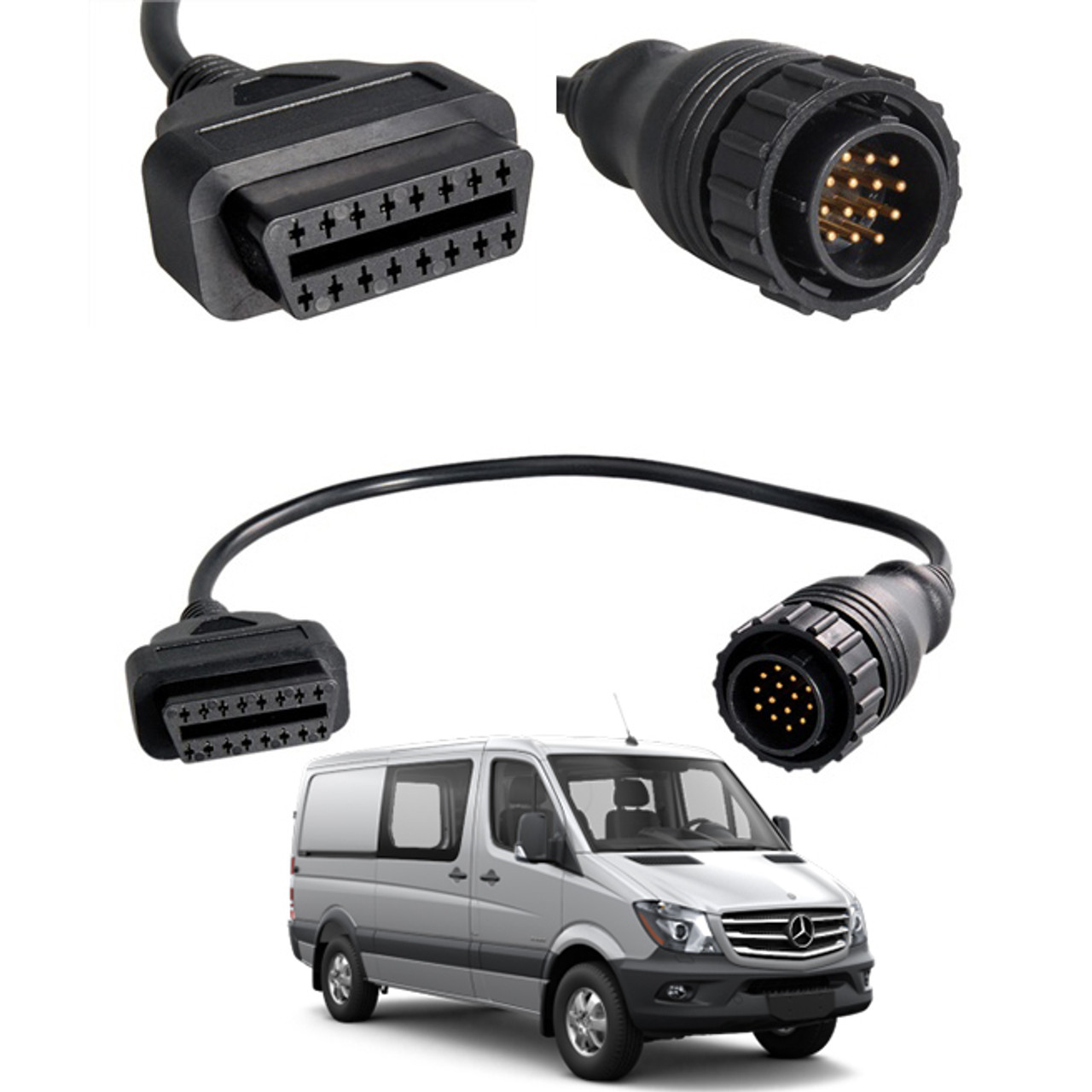 CONNECTOR for MERCEDES BENZ SPRINTER 14 PIN to 16 PIN OBD DIAGNOSTIC ADAPTER