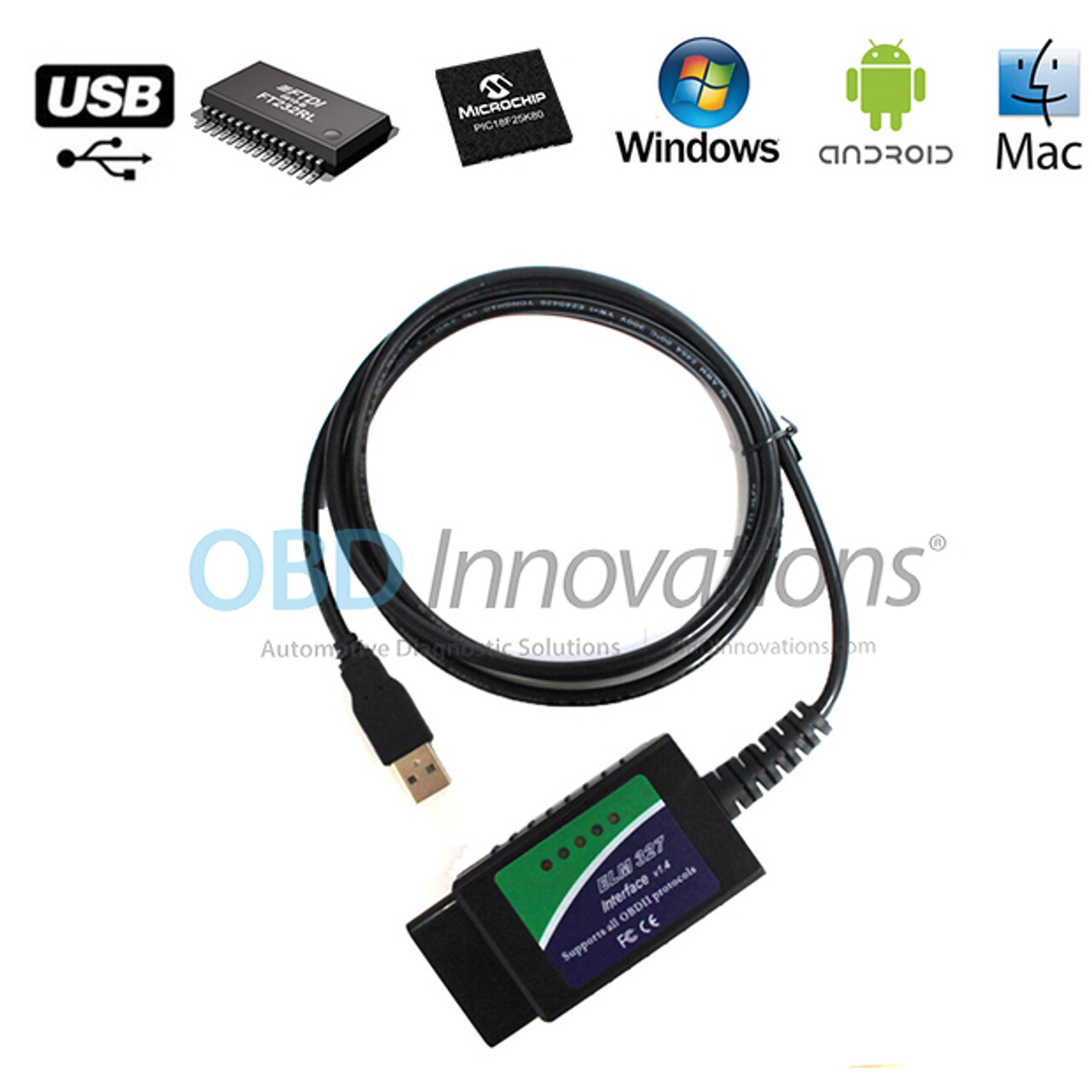ELM327 OBD2 USB Diagnostic Scanner Cable with FTDI FT232RL Chip V1 4