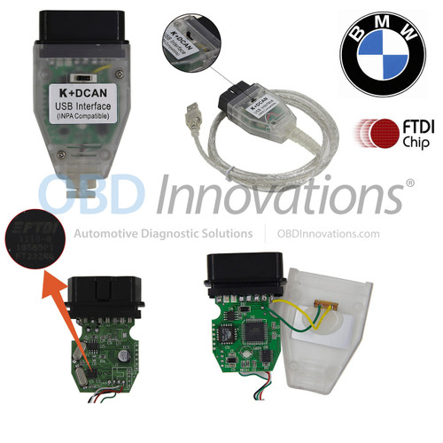 OBD Innovations® K + D-CAN OBD2 USB INPA Cable + Jumper Switch for BMW (Cable Only)