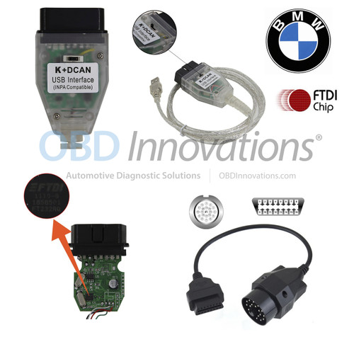 BMW K + D-CAN OBD2 INPA Cable (FTDI FT232RQ) + Switch + 20 Pin Adapter (Cable Only)