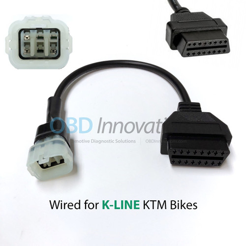 6 Pin to OBD2 Adapter Cable for KTM Motorcycles with Kehin Connector [K-Line]