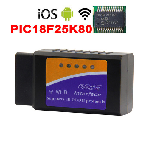ELM327 WiFi OBD2 Diagnostic Scanner + Microchip PIC18F25K80 Chip