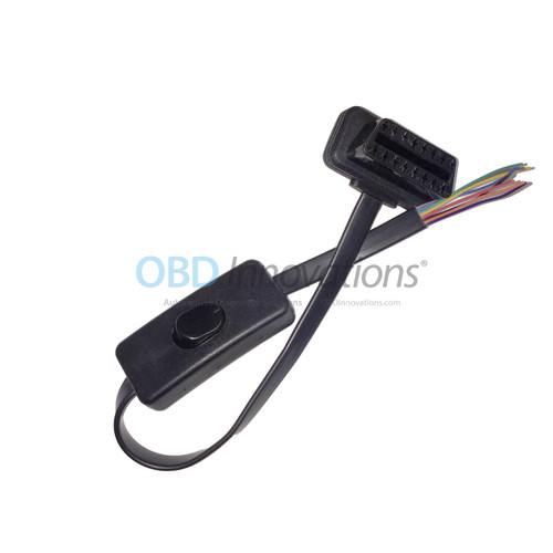 16 Pin OBD2 J1962 Male Low Profile Flat Connector Pigtail + Power Switch- 8 Wires