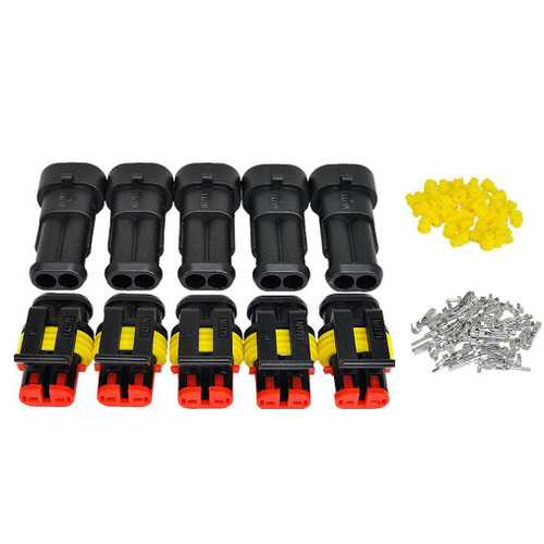 [5 Pack] 2 Way AMP SUPERSEAL 1.5 Series Male + Female Connector Kit Set 282080-1 282104-1