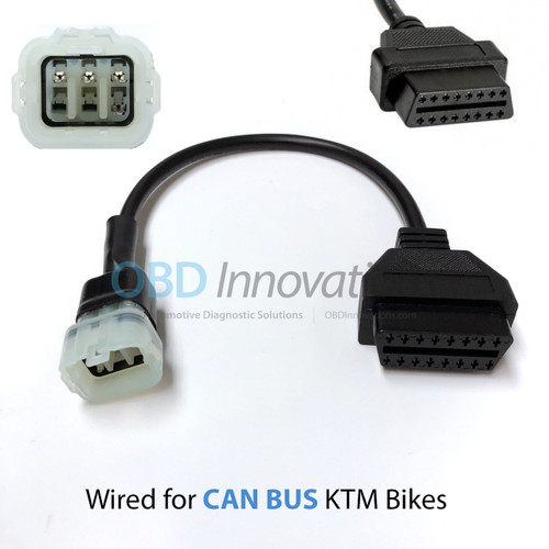 6 Pin to OBD2 Adapter Cable for KTM Duke & RC Motorcycles with US/Bosch Connector [CAN BUS]