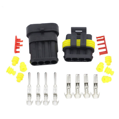 4 Way AMP SUPERSEAL 1.5 Series Male + Female Connector Kit Set