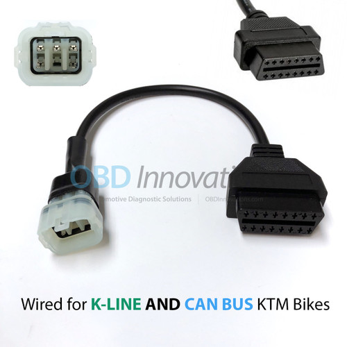6 Pin to OBD2 Adapter Cable for KTM Motorcycles with K-LINE or CAN BUS