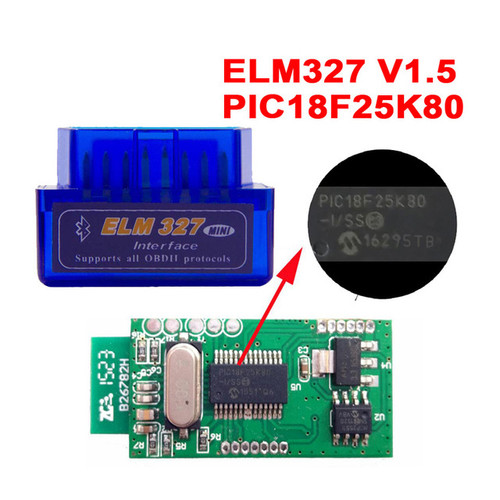 Super Mini ELM327 Bluetooth OBD2 Diagnostic Scanner V1.5 with Microchip PIC18F25K80