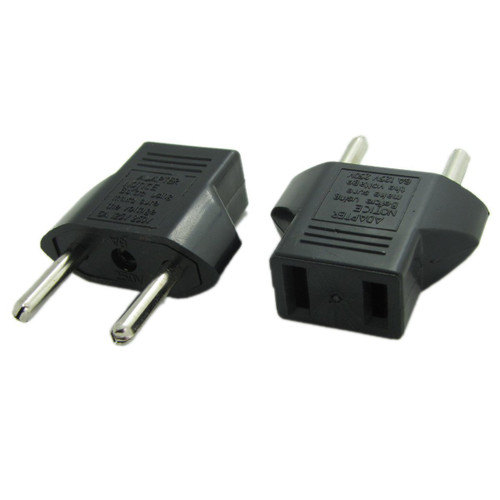 American US to European EU Power Outlet Plug Adapter 2 Prong Polarized