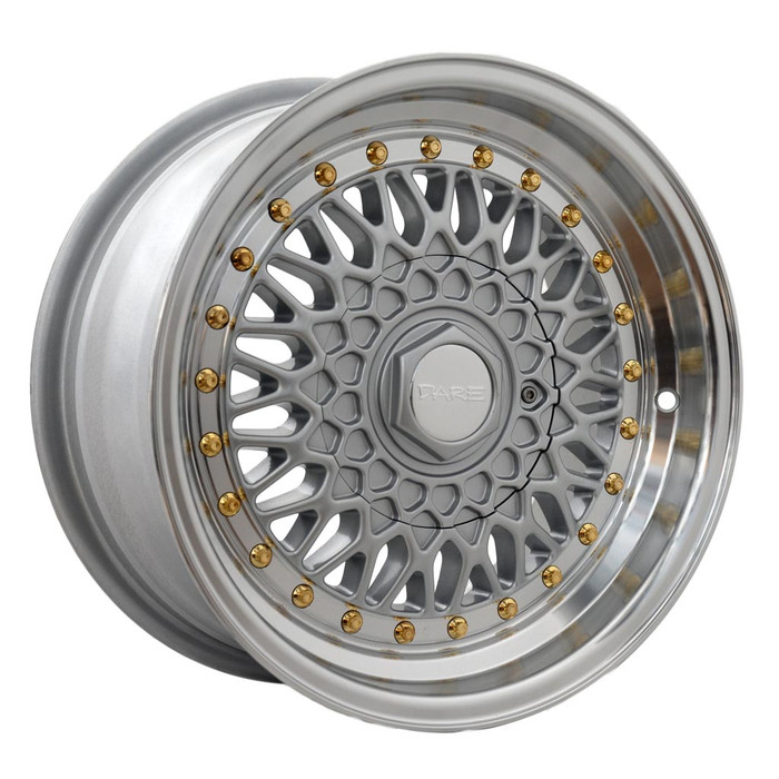 15x8.0 DRRS 4x100/108 ET15 CB73.1 Silver polished lip with gold rivets - max load 690kg