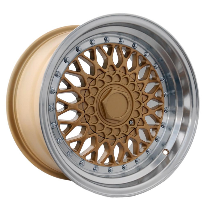 16x9.0 DRRS 4x100/108 ET20 CB73.1 Gold polished lip w/chrome rivets - max load 690kg