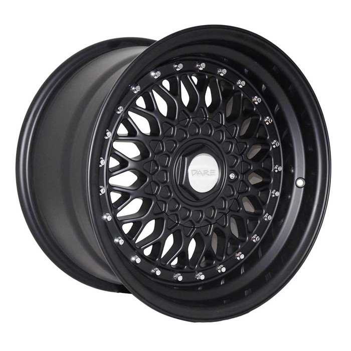 16x9.0 DRRS 4x100/108 ET20 CB73.1 Matt black w/chrome rivets - max load 690kg