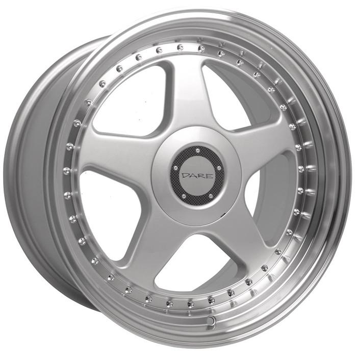 17x8.5 Dare F5 5x100/5x112 ET35 CB73.1 Silver polished lip - max load 690kg