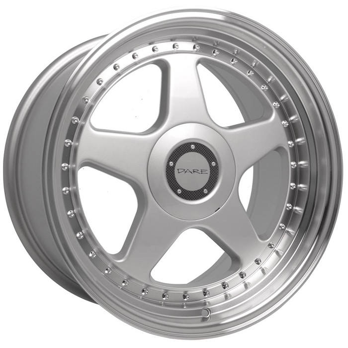 17x8.5 Dare F5 5x100/5x120 ET35 CB72.6 Silver polished lip - max load 690kg