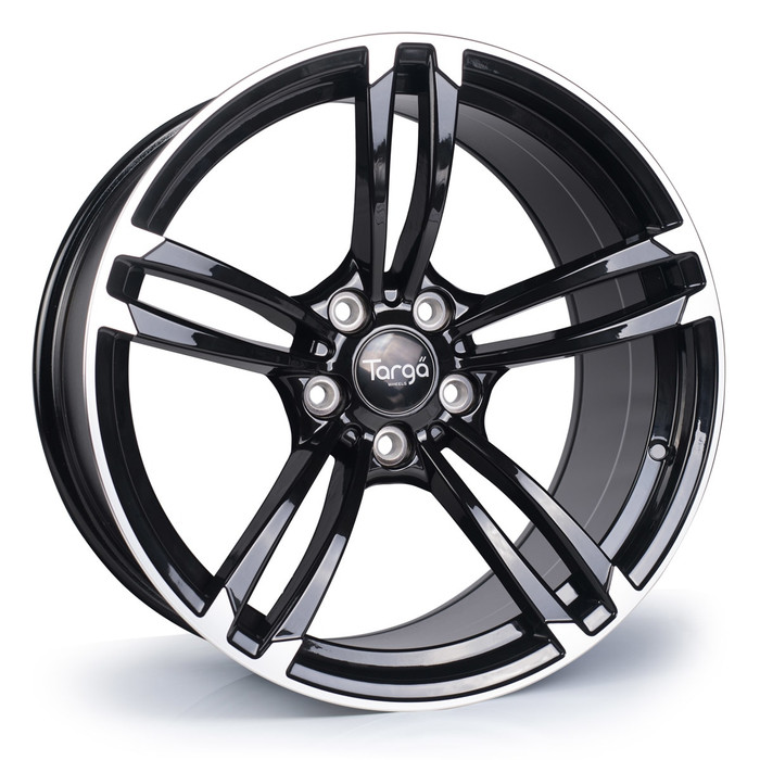 18x8.5 Targa TG1 5x120 ET35 CB72.6 Gloss black / polished face-srbpower.com