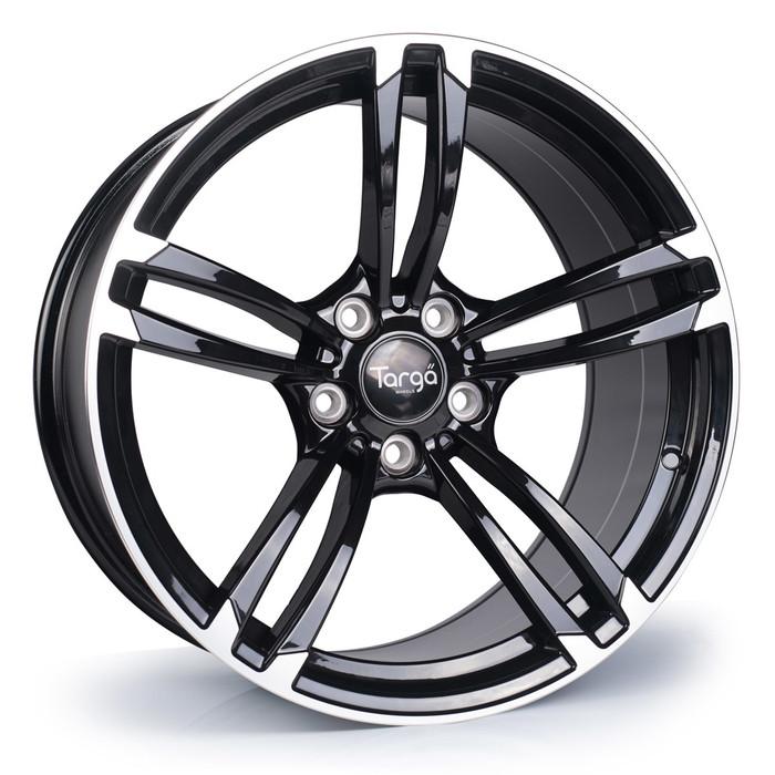 19x9.5 Targa TG1 5x120 ET35 CB72.6 Gloss black / polished face - max load 690kg